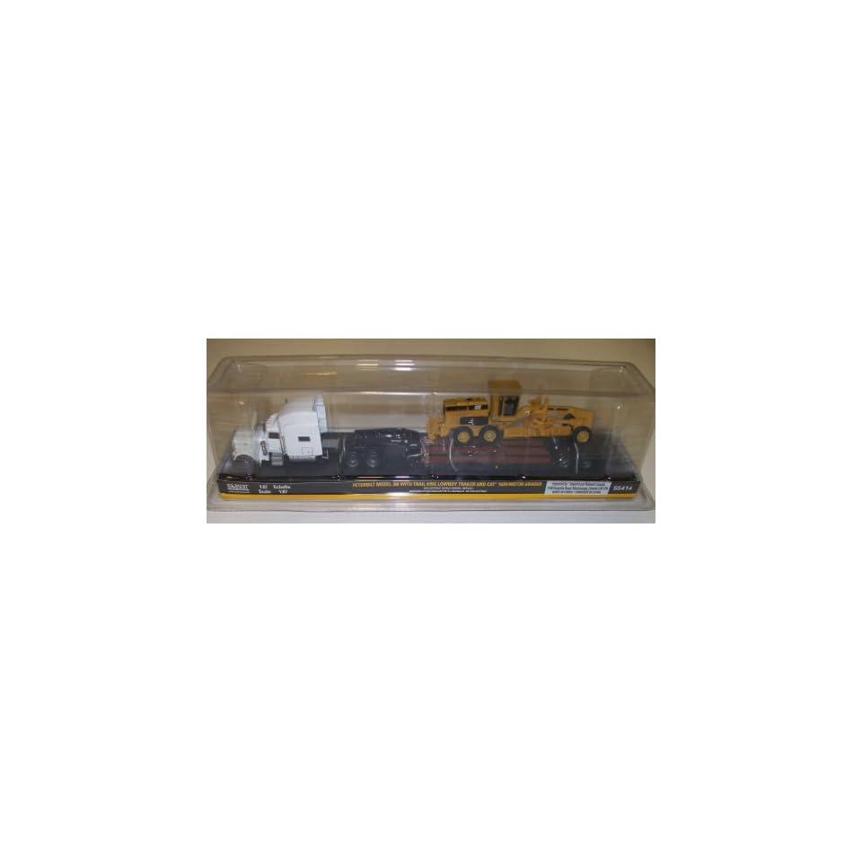 1/87 Peterbilt 389 White w/Lowboy & CAT 163 Gradr