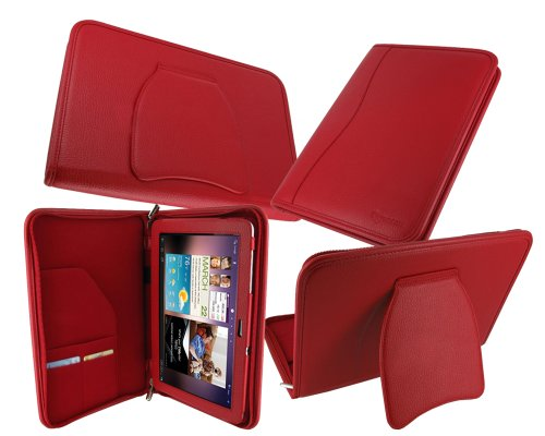 rooCASE Executive Portfolio (Red) Leather Case Cover with Landscape / Portrait View for Samsung GALAXY Tab 10.1 Wi-Fi (NOT Compatible with Verizon 4G LTE)