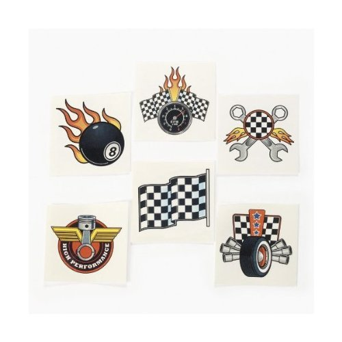 RACE CAR TATTOOS (6 DOZEN) - BULK