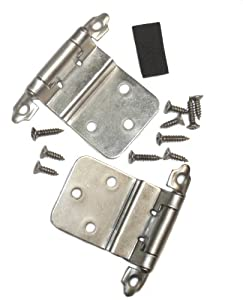 "Semi-concealed Cabinet Hinge, self-closing, 3/8"" Inset, Satin Nickel."