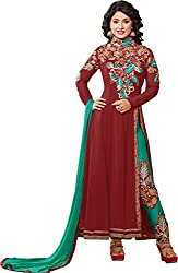 Shayona Enterprise Women's Brocade & Georgette Unstitched Dress Material (hz2-54000_Brown_Free Size)