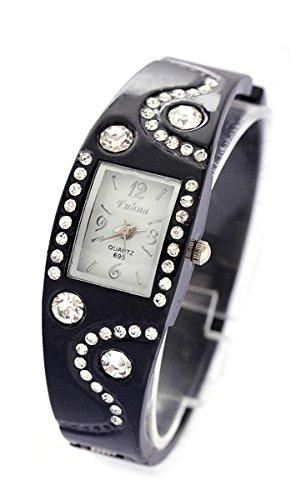 Daisy*Vzu Womens Chic Bracelet Bangle Wave Rhinestone Crystal Wrist Watch (Black)