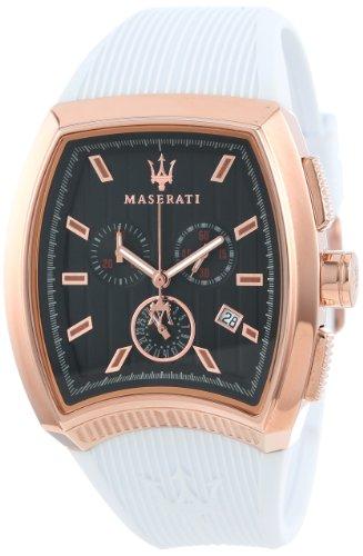 Maserati R8871605001 - Reloj para hombres, correa de goma color blanco