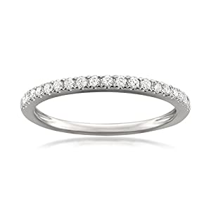 14k White Gold Round Diamond Micro-Pave Bridal Wedding Band Ring (1/4 cttw, G-H, VS1)