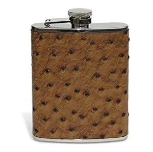 Ostrich Leather Flask 6 oz
