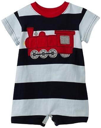Mulberribush Baby-boys Infant Train Applique Stripe Romper, Blue/Light Blue, 6-9 Months