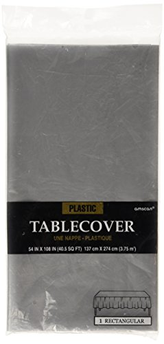 "Amscan Disposable Rectangular Plastic Table Cover Fits 8' Tables, 54 x 108"", Silver - 1"