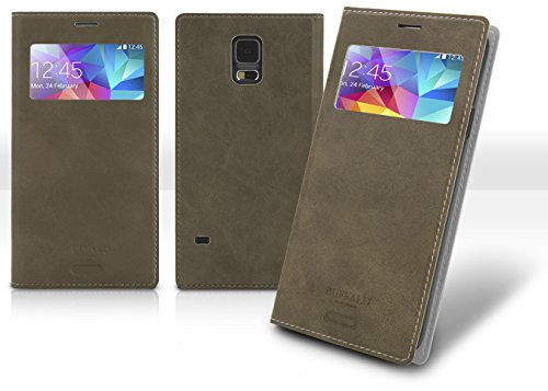 Note3 View Flip Case, Samsung Galaxy Note 3 Soft Leather Cover, 9 Colors - Retail Packaging (Gray)