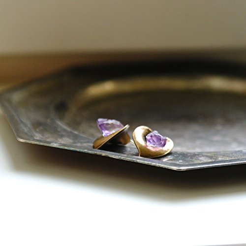 925-silver-ombra-stud-earrings-amethyst-natural-chips-calla-lily-vintage-brass