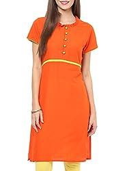 Femeie Women's Free Size Regular Fit ORANGE Stitched Cotton Long Sleeve Kurtas (ORANGE)