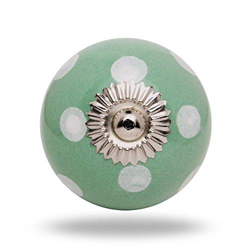 pomello-rotondo-in-ceramica-a-pois-bianchi-su-verde-chiaro-finitura-cromata-da-trinca-ferro