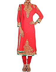 Kalki Fashion Red Straight Fit Suit Embellished In Gotta Patti And Sequin Only On Kalki