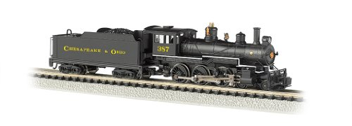 Bachmann Industries #387 Baldwin 4-6-0 Steam Locomotive And Tender Dcc Equipped C And O Train Car, Black/Yellow, N Scale front-335802