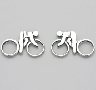 Sterling Silver Track Bike w/Rider Stud Earrings