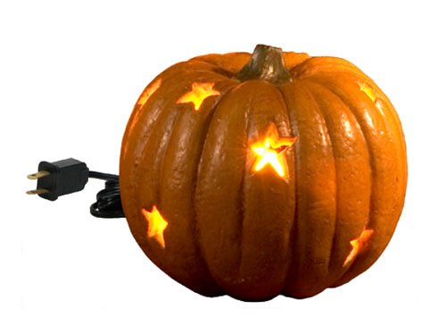 Pumpkin - Mini Carved Lighted Pumpkin with Star Cut-Outs - Halloween Decor (Pumpkin Cut Outs Halloween)