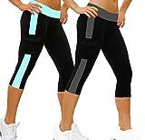 iLoveSIA 2Pack Women's Tight 3/4 Legging Capri US Size L Grey+ Lake Blue