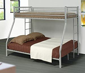 Twin Full Size Metal Bunk Bed with Sleek Design in Silver Finish by Coaster