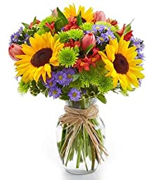 From You Flowers - Sunflower Garden - Sunflowers, Pink Tulips, Green Poms, Stems - (Free Glass Vase Included) Measures 12\