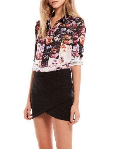 HaboZoo Womens Fashion Flower Print Long Sleeve Lapel Collar Blouse