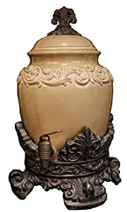Drake Design 3860 Drink Dispenser Two Gallon with Spigot, Taupe, 9.75x18.5 Inch