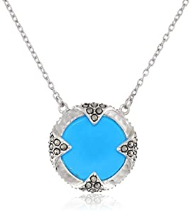 "Judith Jack ""Coins"" Sterling Silver, Marcasite and Turquoise Coin Pendant Necklace, 18"""