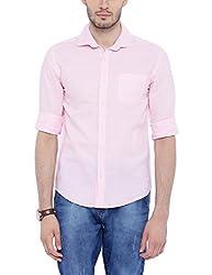 Bandit Pink Slim fit Linen Solid Shirts