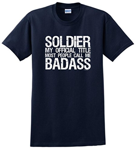 Soldier My Official Title People Call Me Bada** T-Shirt Small Navy