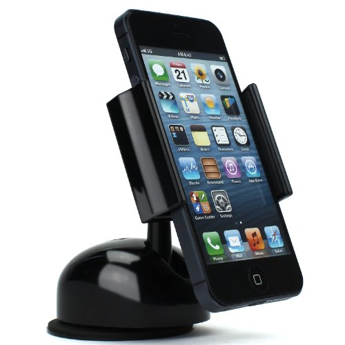 FRiEQ® Premium Stylish Universal Dashboard Windshield Car Mount Holder for Smartphones including iPhone 5, Samsung Galaxy S4, S3, S2, Verizon Galaxy Nexus and more - Black