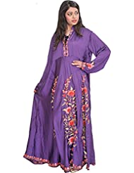 Exotic India Royal-Purple Long Gown From Kashmir With Ari-Embroidered F - Purple