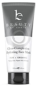 Beauty by Earth Clear Complexion Hydrating Facial Mask - 100% Natural and Organic Treatment. Deep Pore Cleansing for Face & Spot Treatment for Acne. Gluten & Soy Free - Made in USA