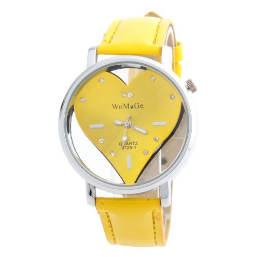 Womage See through Heart Shaped Jelly Leather Band Ladies Girl Quartz Wrist Watch Yellow