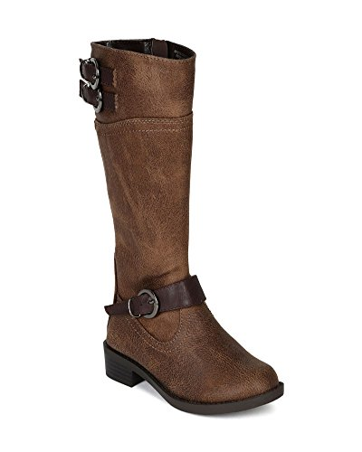 Soda Bg62 Leatherette Tow Tone Buckle Round Toe Riding Boot (Toddler/ Little Girl/ Big Girl) - Light Brown / Brown (Size: Big Kid 4)