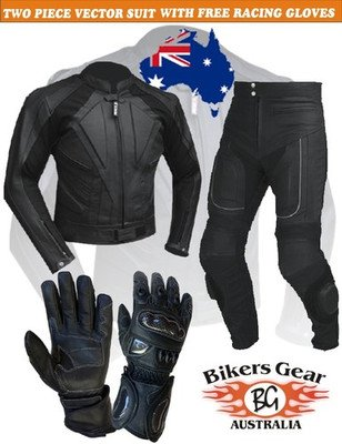 Vector Race Leather Set 1.4 CE Armoured Motorcycle Jacket Trousers & Gloves 2pcs suit Med M