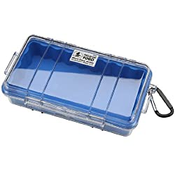 Pelican 1060 Blue Clear Micro Case with Clear Lid and Carabiner
