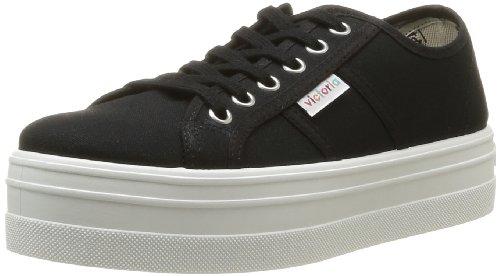 Victoria - Blucher Lona Plataforma, Sneakers da donna, nero (negro), 36