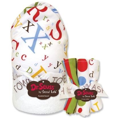 Trend Lab Dr Seuss Abc Hooded Towel And Wash Cloth Set front-495687