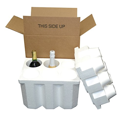 6 Bottle Styrofoam Wine/Champagne Shipping Cooler - COOL-06 (Wine Shipper Box compare prices)