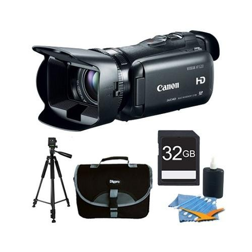 "Canon - Vixia Hf G20 32Gb Camcorder Hd Cmos Pro Image Sensor W/ 3.5"" Touchscreen Lcd Plus Memory Bundle. Bundle Includes 32Gb Secure Digital Sd Memory Card, 60"" Full Size Photo / Video Tripod, Compact Deluxe Gadget Bag , And 3Pc. Lens Cleaning Kit."