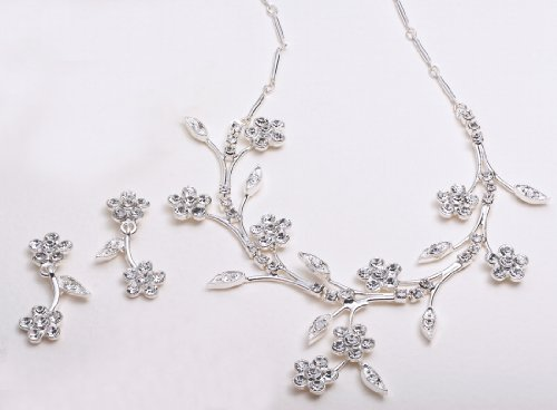 Bridal Jewelry, Floral Vine Necklace &#038; Earring Set 522