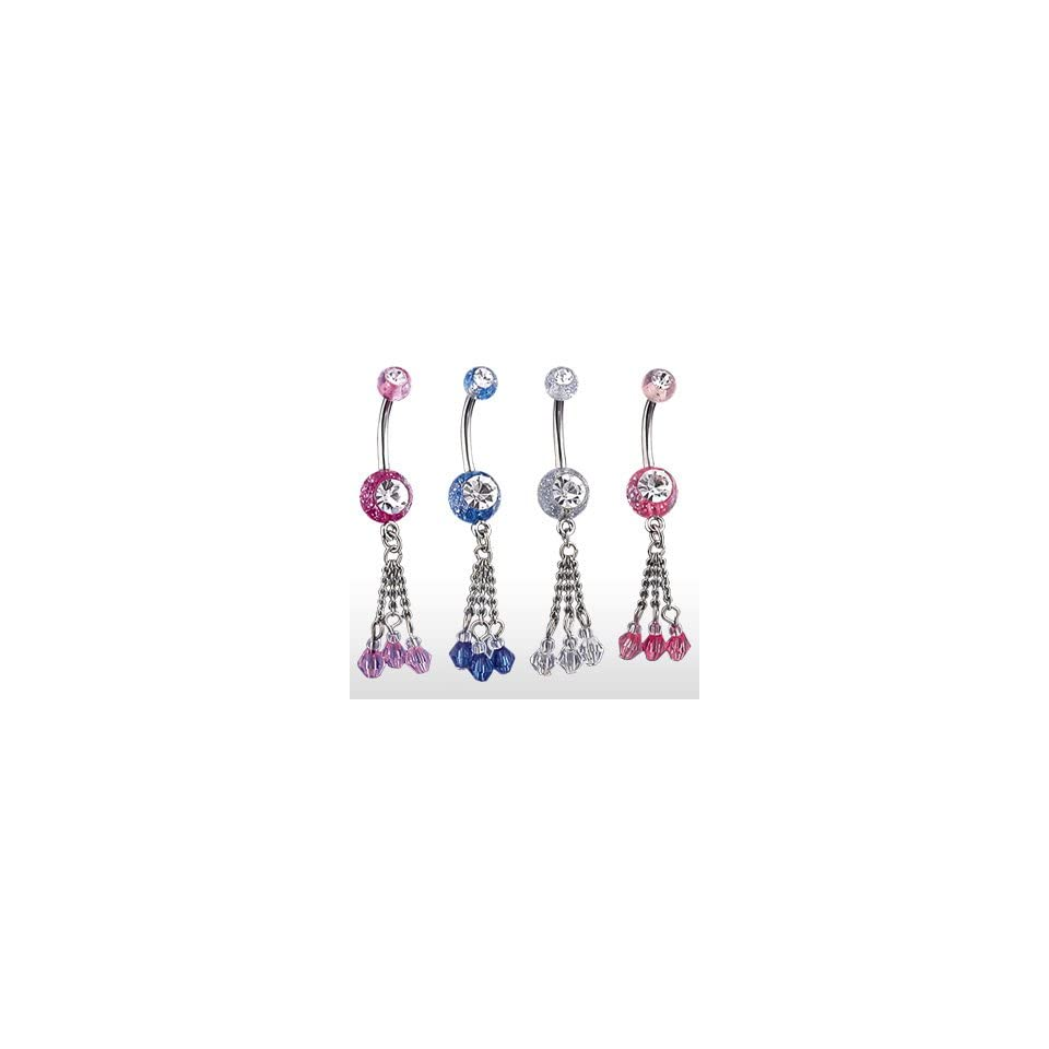 316L Surgical Stainless Steel Belly Ring with Pink Gem Set UV Glitter Balls & 3 Chain Dangle   14G   7/16 Bar Length   Sold Individually