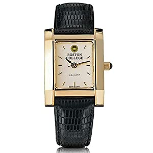 Boston College Ladies Swiss Watch - Gold Quad Watch with Leather Strap by M.LaHart & Co.
