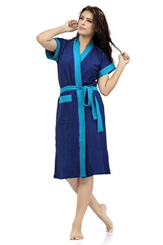Sweet Night Womens Cotton Blue Bath Gown with Robe