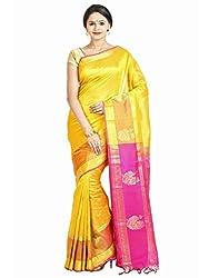 Anagha Handloom Jacquard Kanjivaram Silk-Cotton Saree - Yellow