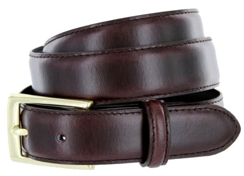 New Fashion Solid Brass Buckle Mens Dress Belt Navy, Red, Gray, or Brown (38, Brown)