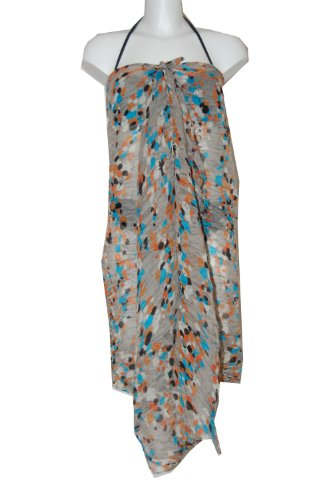 Tamari Grey/Blue Confetti Sarong Beach Cover Up Wrap Dress One Size