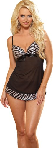 Babydoll Lingerie Set - Black Zebra Print Intimate Apparel Sleepwear with Thong