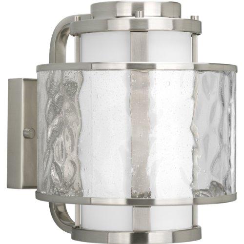 Progress Lighting P5849-09 Bay Court Collection 1-Light Wall Lantern, Brushed Nickel