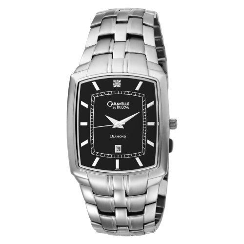 Caravelle by Bulova Men's 43D001 Diamond Accented Black Dial Watch