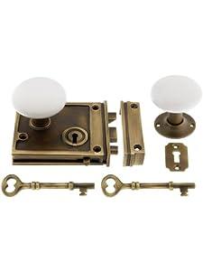 Antique Brass Horizontal Rim Lock Set With White Porcelain Door Knobs. Flush Mount Door Locks.