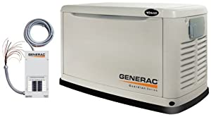 Generac Guardian Series 5871 10,000 Watt Air-Cooled Liquid Propane/Natural Gas Powered Standby Generator With Transfer Switch (CARB Compliant) from Genender Intl Imports